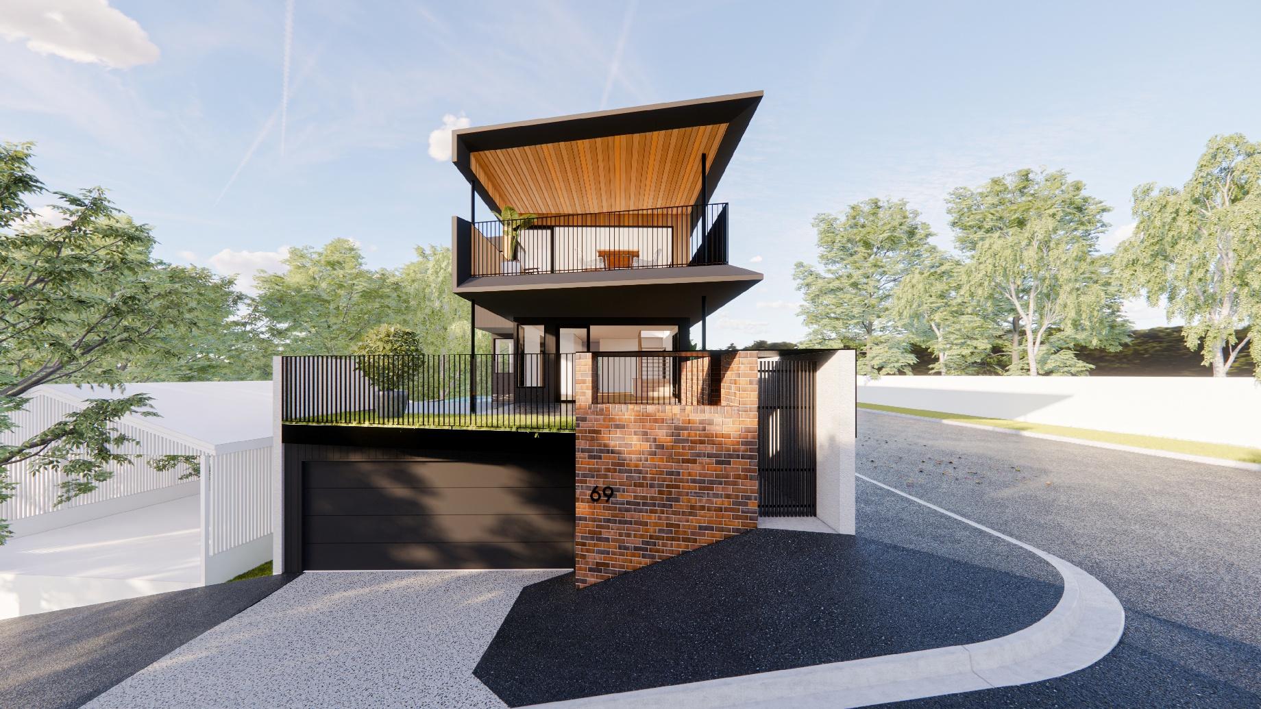 GRAYA™ custom home in Paddington Brisbane, featuring a Plungie Max 6m x 3m concrete pool