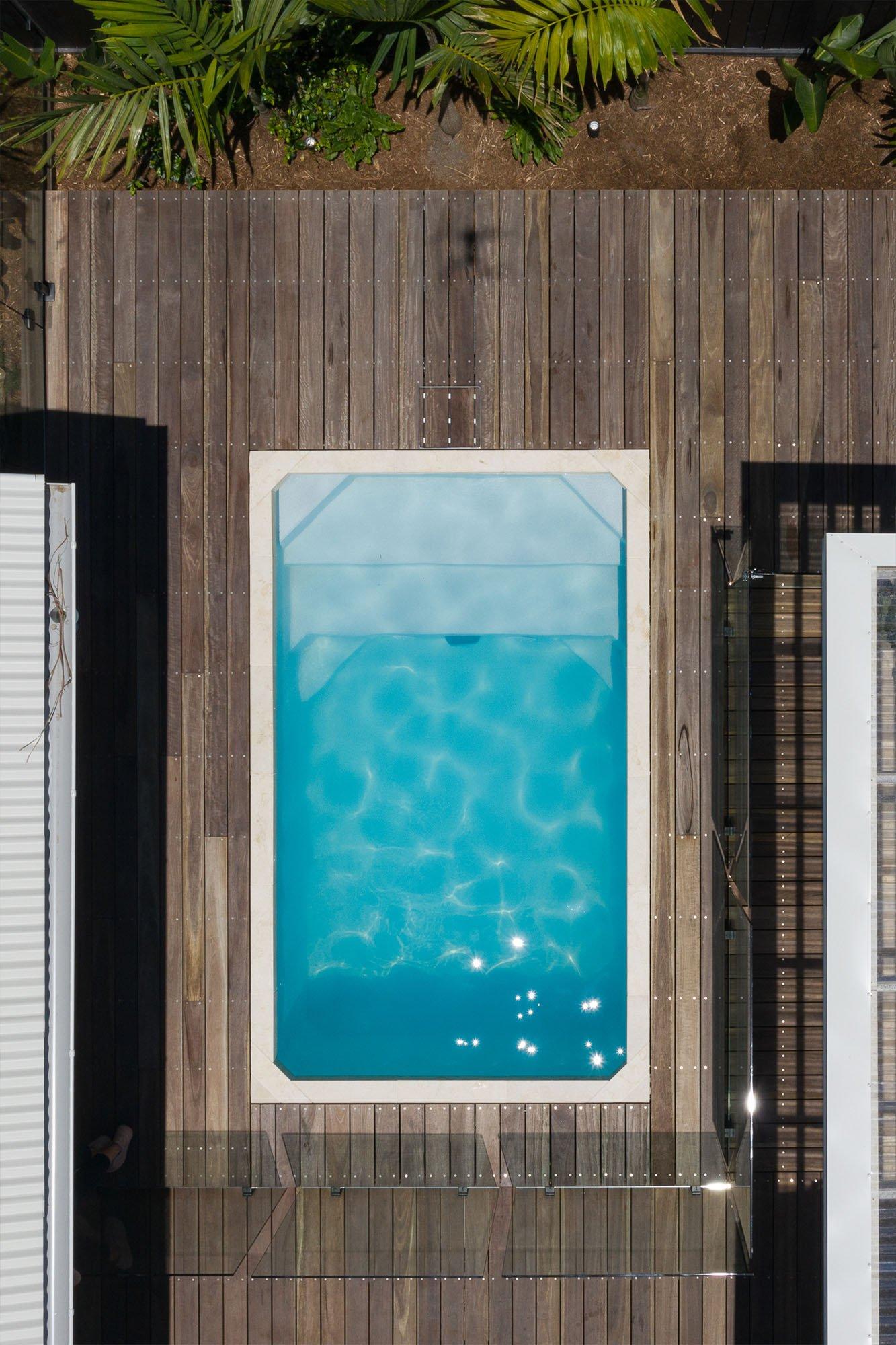 Aerial shot of 3.6m x 2.2m Plungie Studio Concrete Plunge Pool in Kona Coast